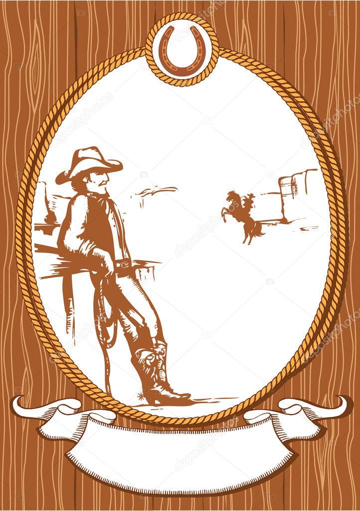 vektor cowboy poster background for design mit seil rahmen ...