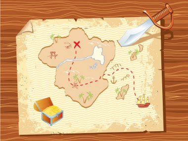 Old parchment with pirate map and dagger- vector illustration.