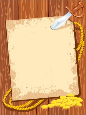 Pirate background paper with knife and gold money for text.Vecto