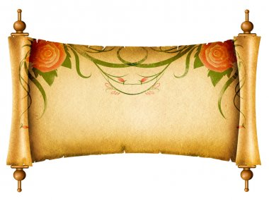 Floral vintagel background.Old paper scroll with rose