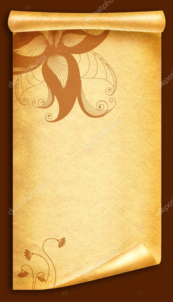 floral vintagel background.old paper scroll — stock photo, Powerpoint templates