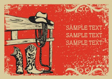 Cowboy's life .Vector graphic image with grunge background for