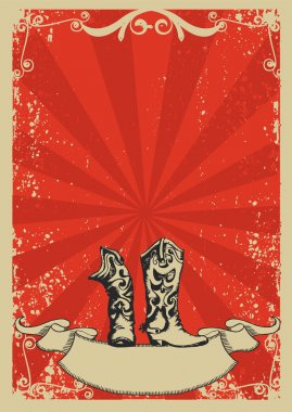 Cowboy boots.Red background with grunge elements decorationl .Re