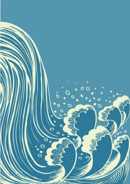 Waterfall.Vector blue water waves background