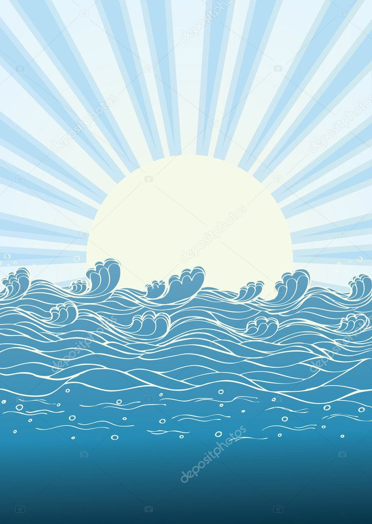 Sea waves in sun day. Vector illustration of nature landscape