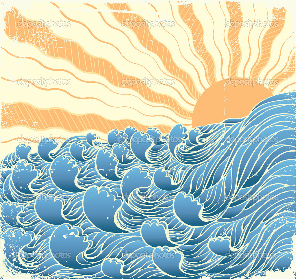 Sea waves. Vectorgrunge illustration of sea landscape with sun