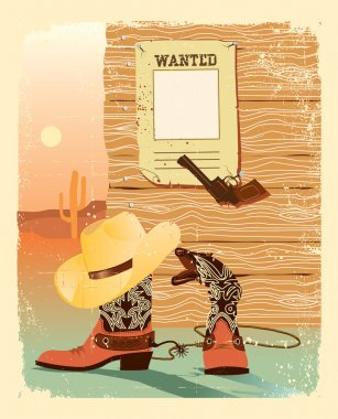Cowboy West life. Special shoes and gun for cowboy.Grunge wester