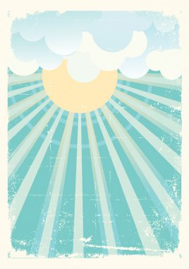 Sun and blue sky with beautifull clouds.Vector vintage image
