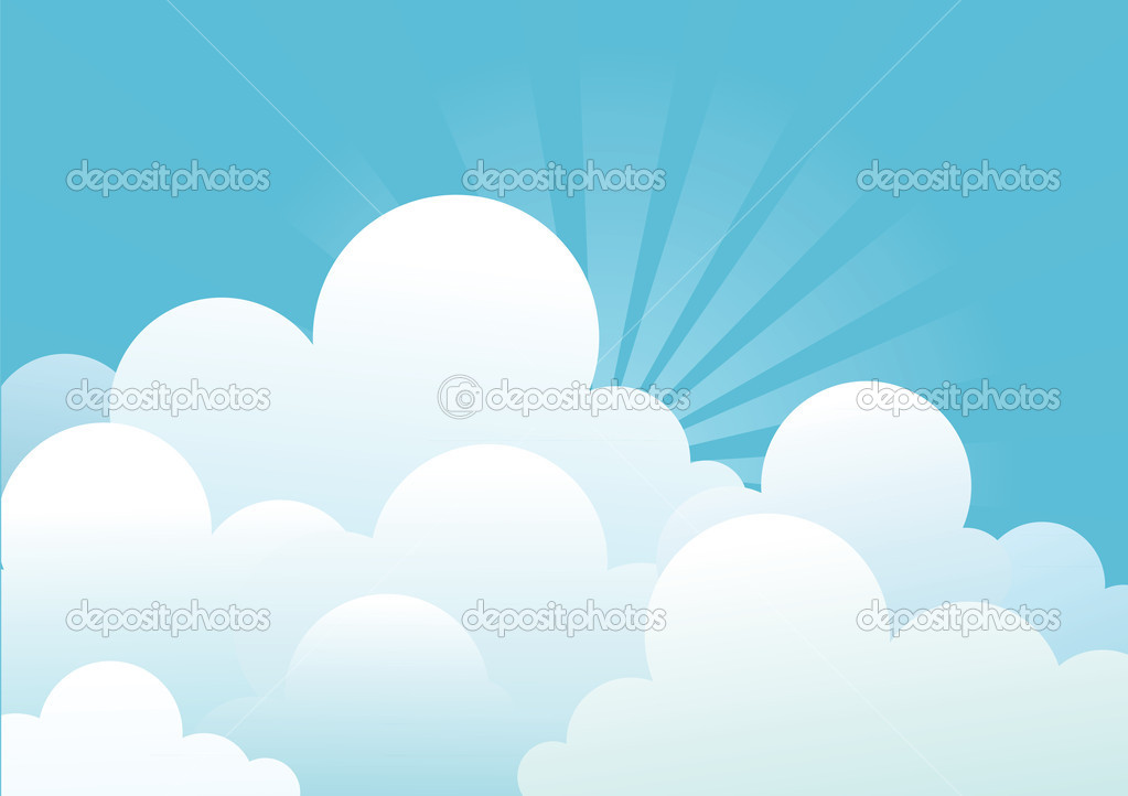 Blue sky with beautifull clouds.Vector image