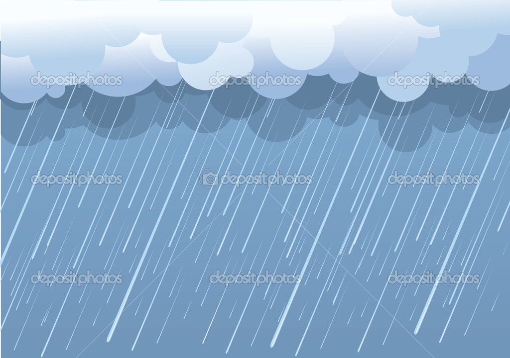 Rain.Vector image with dark clouds in wet day — Stock ...