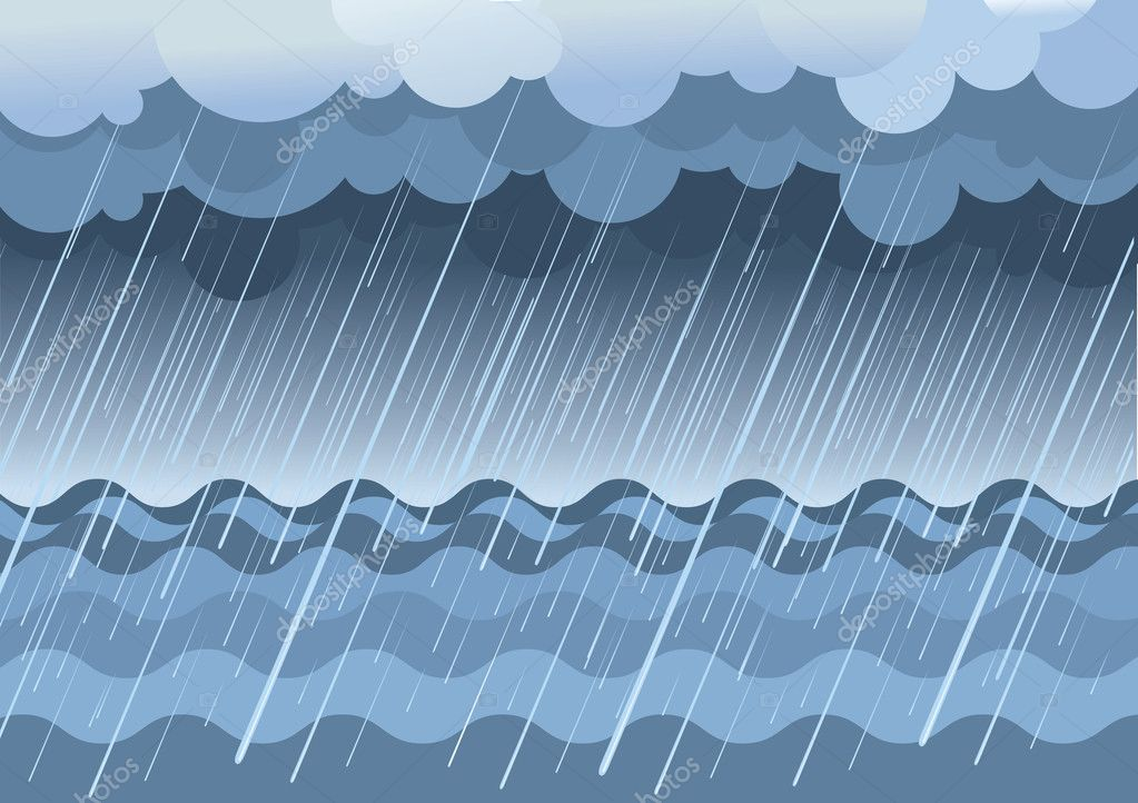 Rain in sea.Vector water landscape