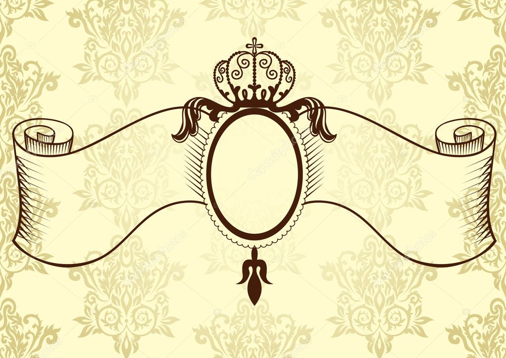 Ribbon with crown in vintage style