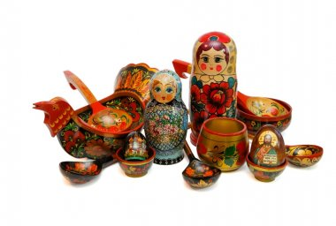 Russian wooden toys, utensils ans religious objects