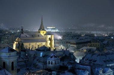 Prague at night. Winter