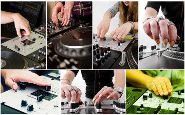 Collage with hands of djs