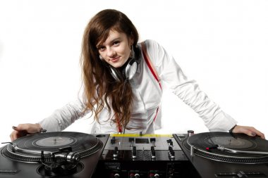 Girl DJ at the turntables