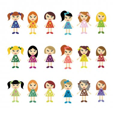 Many girls on white background