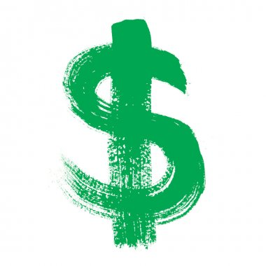 Colorful alphabet - dollar sign over the white background