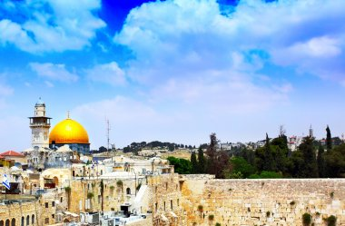 Panorama of Jerusalem with gold cupola of the mosque of Omar on The Temple mountain