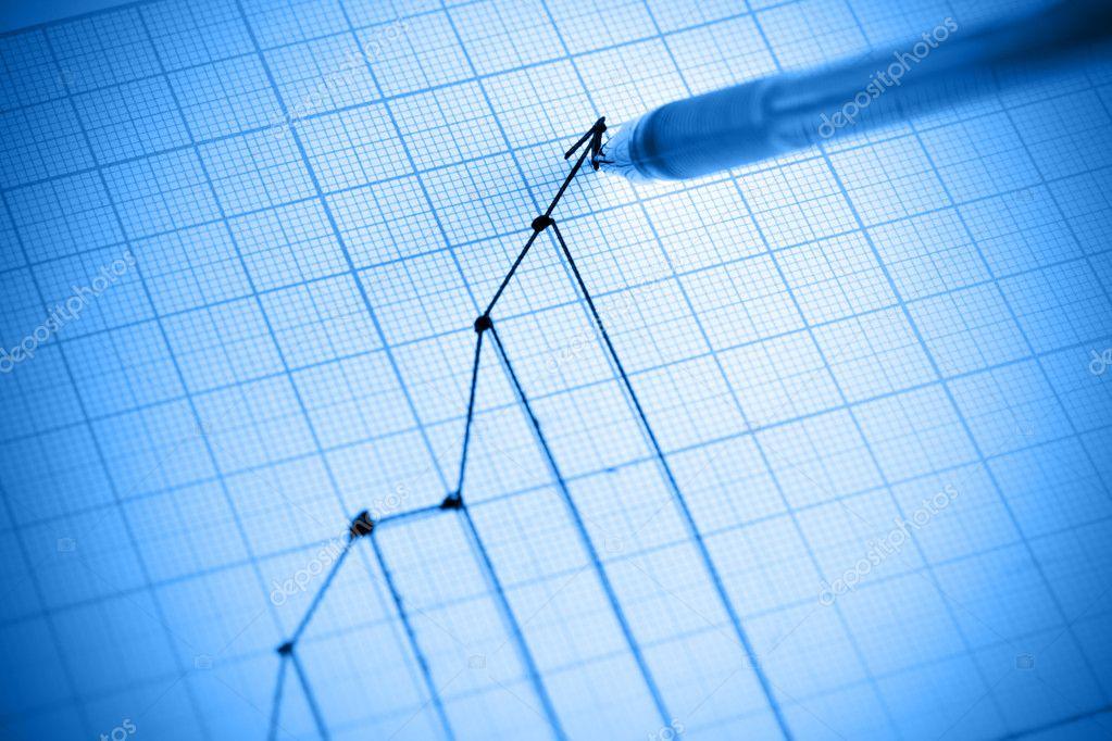 Pen drawing profit line graph