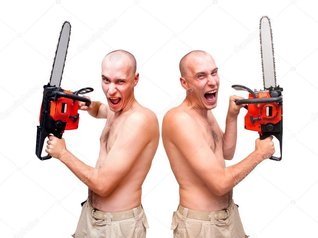Два мужика с пилой блондинку — img 4