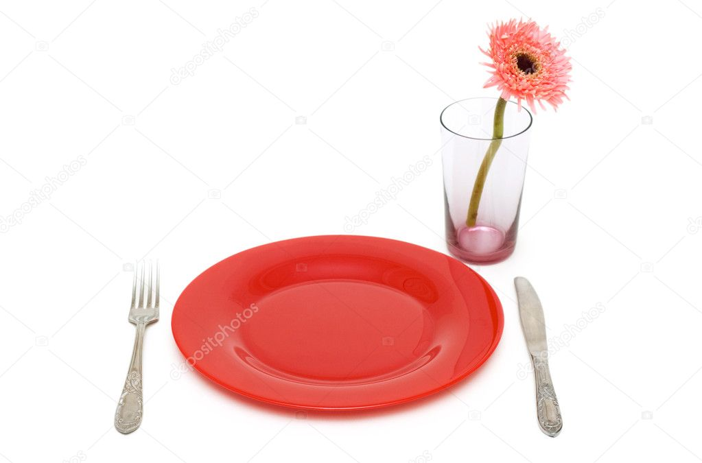 Surprising Red Plate And Table Utensils Isolated On The White Stock Download Free Architecture Designs Grimeyleaguecom