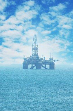 Offshore oil rig in the Caspian Sea near Baku