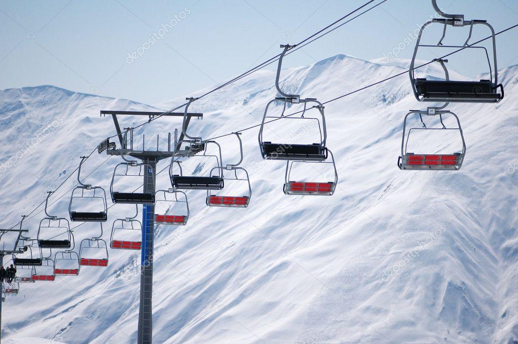 Ski Lift Chairs On Bright Winter Day Stock Photo Elnur 4360163