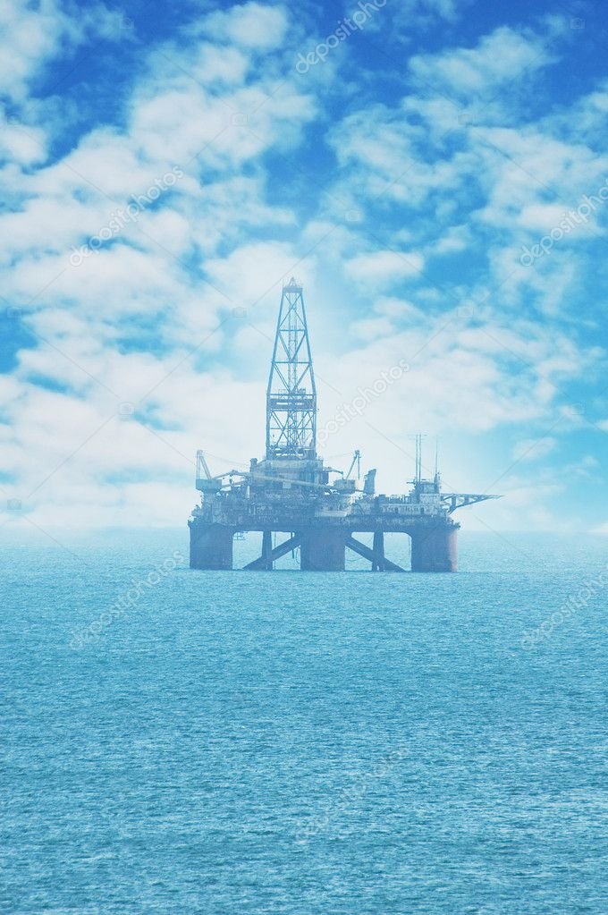 Offshore oil rig in the Caspian Sea near Baku
