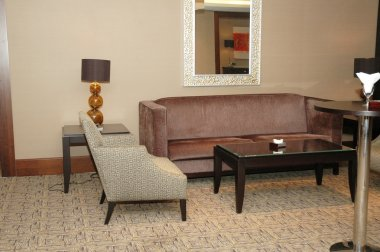Lobby of the hotel with sofas and chairs
