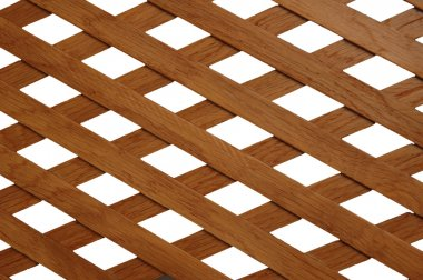 Wooden trellis with rhomb shaped holes