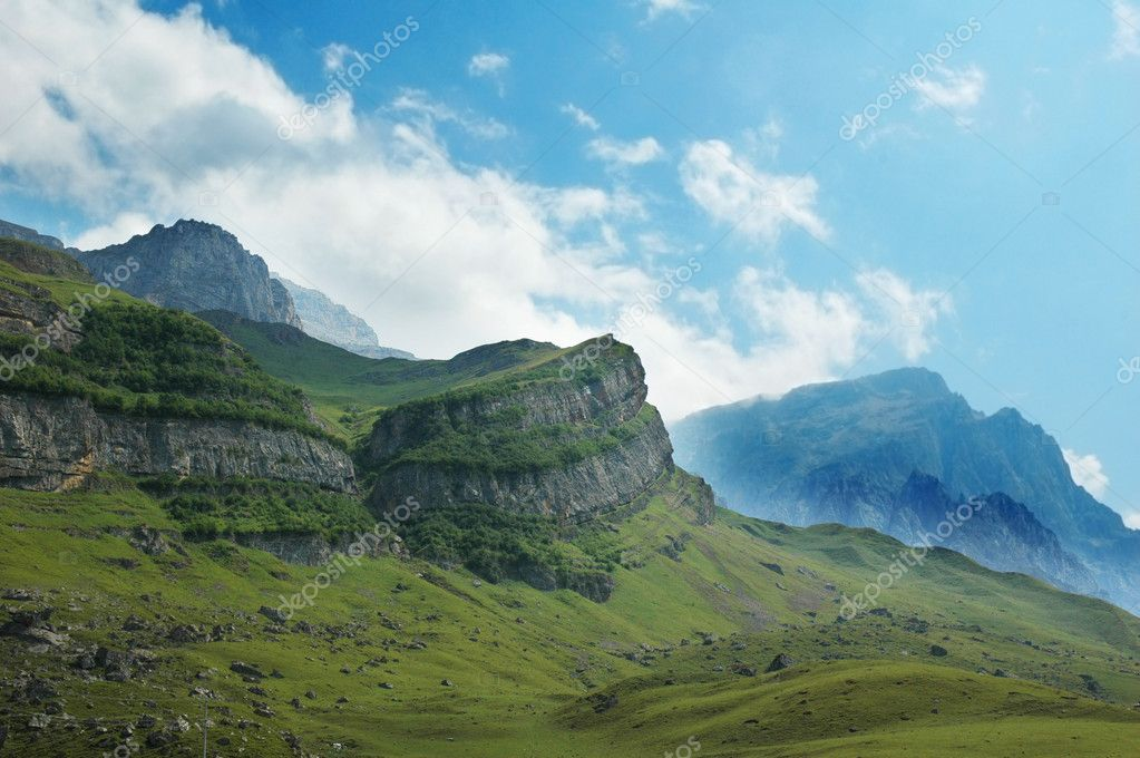 Scenery with mountains and blue sky - Azerbaijan