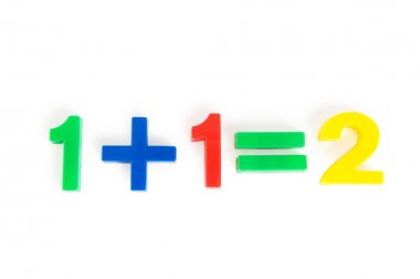 Simple math example with numbers on the table