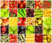 koláž z mnoha různých druhů ovoce a zeleniny