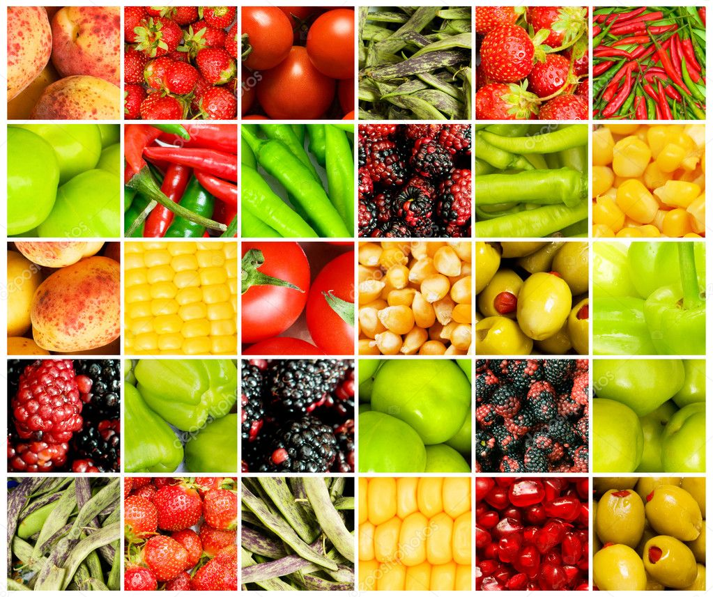 collage of many different fruits and vegetables u2014 stock photo