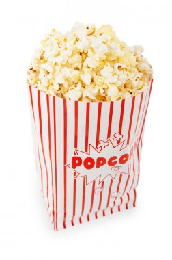 Popcorn bag isolated on the white background