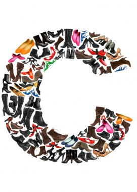 Font made of hundreds of shoes - Letter C