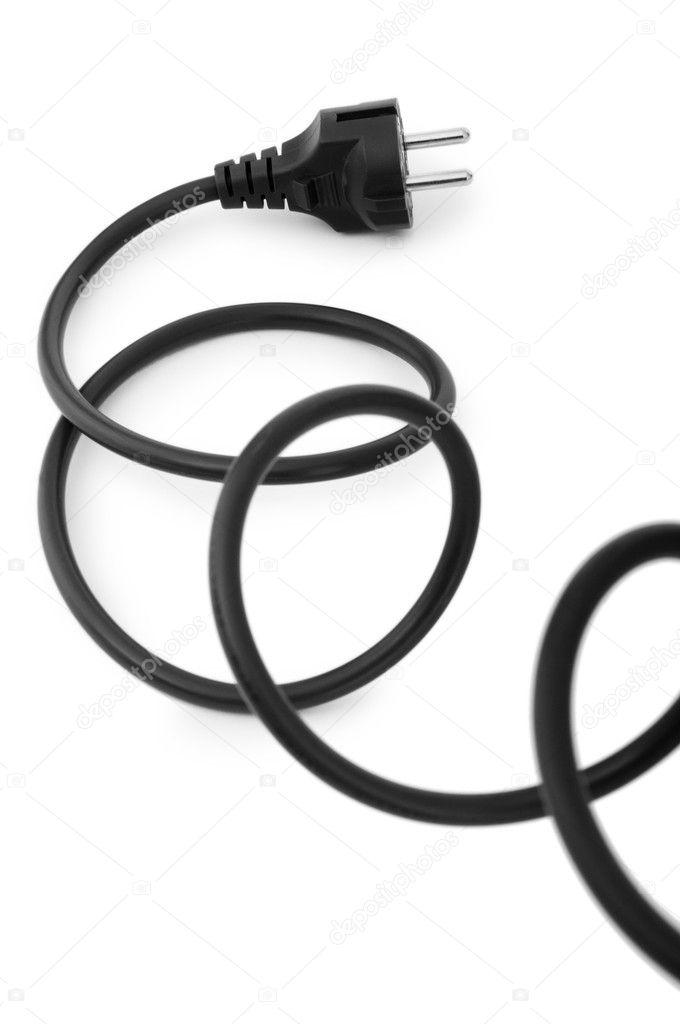 schwarz elektrische kabel, isoliert auf weiss — Stockfoto © Elnur_ ...