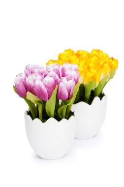 "Картина, постер, плакат, фотообои ""красочные тюльпан цветы в белой банке"", артикул 5135684"
