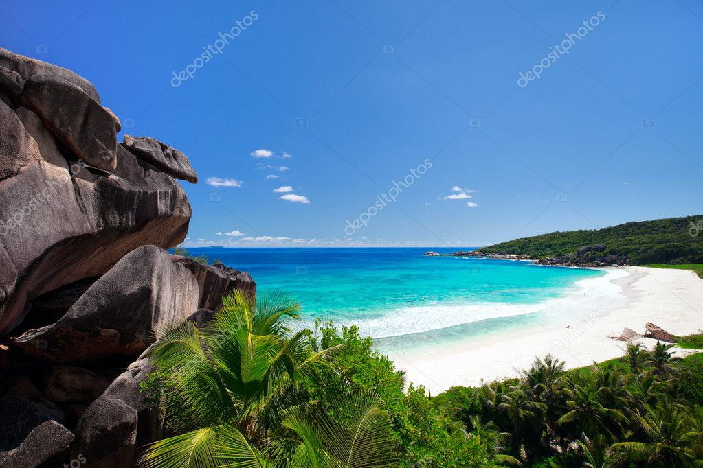 Grand Anse beach on La Digue island in Seychelles