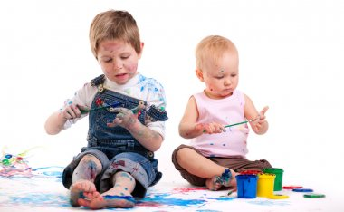 Boy and girl painting
