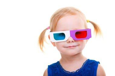 Toddler girl wearing 3D glasses