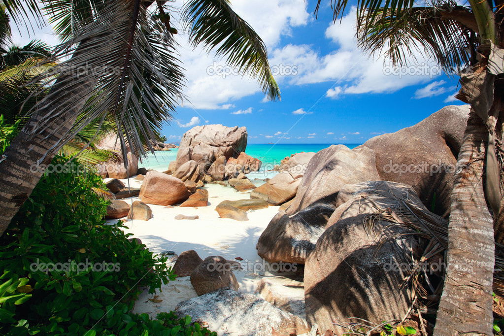 Secluded beach in Seychelles
