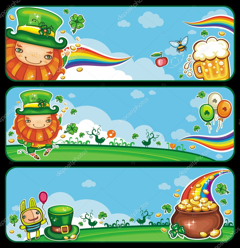 st patrick u0027s day cartoon banners u2014 stock vector dianka 5063718
