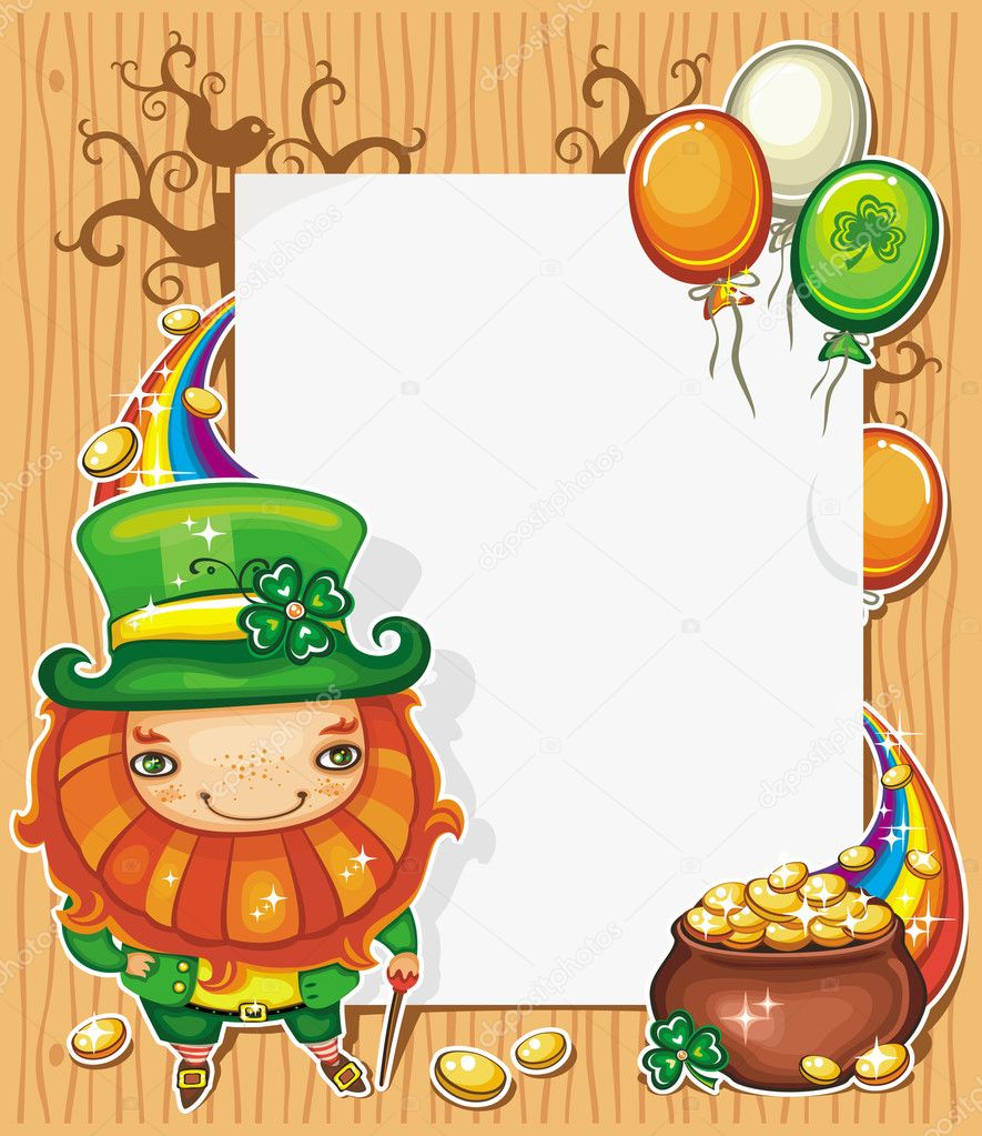 st patrick day cartoon frame u2014 stock vector dianka 5126279