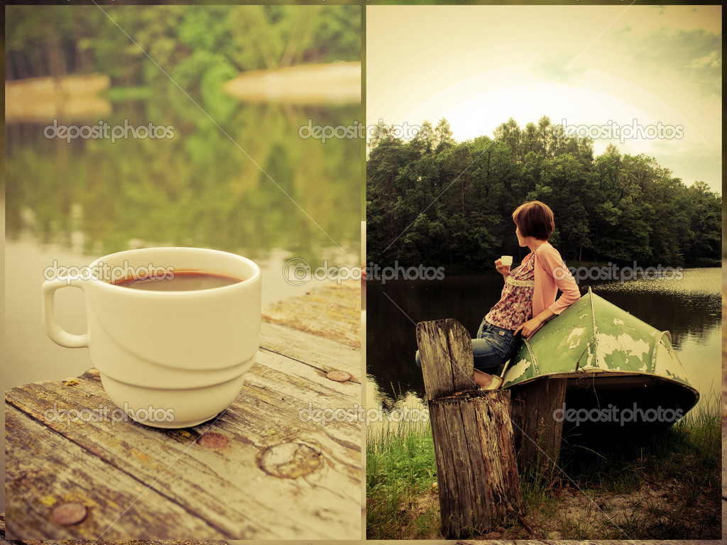 Collage: girl and coffee