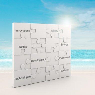 Business white puzzle concept