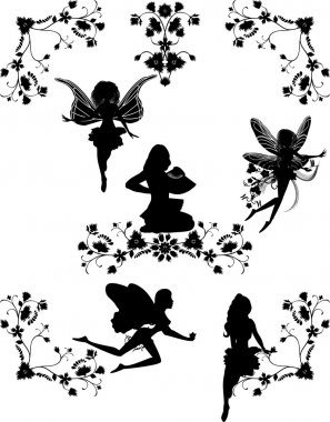 Set of fairies and floral corners