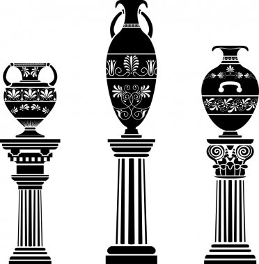 Ancient Greek vase on column