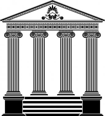 Greek temple stencil third variant